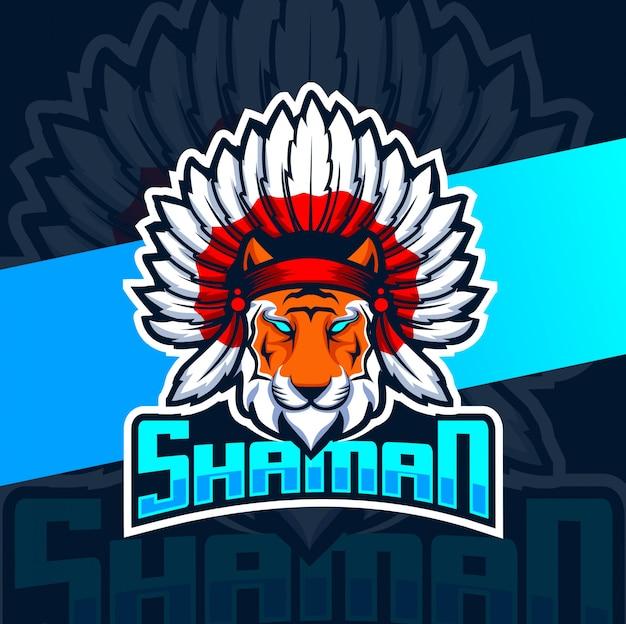 Sjamaan tijger mascotte esport logo