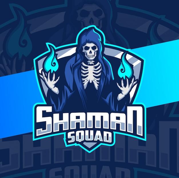 Sjamaan wizard donkere mascotte esport logo ontwerp
