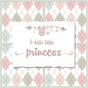 Sjofele chique de douchekaart van het babymeisje, vectorillustratie