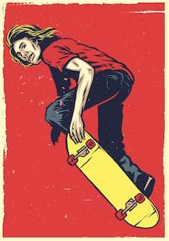 Skate act op het skateboard in de hand tekenstijl