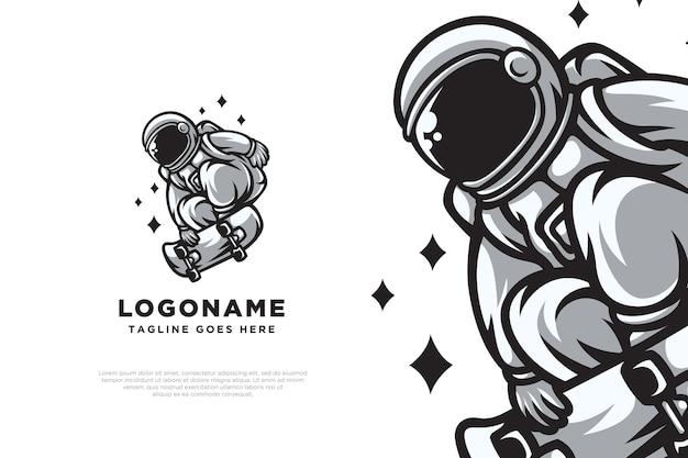 Skate astronaut logo ontwerp illustratie