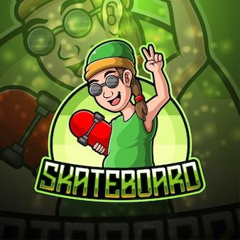 Skate board esport mascotte logo ontwerp