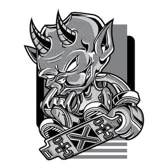 Skate duivel zwart en wit illustratie