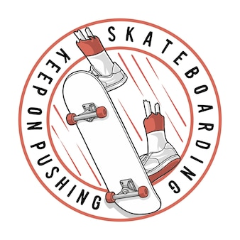 Skateboard blijven duwen Premium Vector