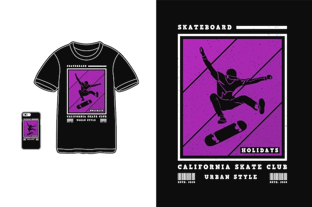 Skateboard california skate club ontwerp voor t-shirt silhouet retro stijl