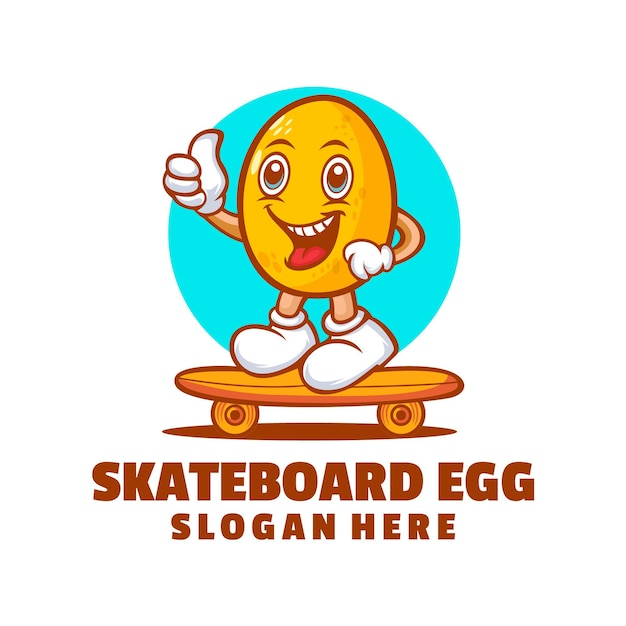 Skateboard ei cartoon logo ontwerp