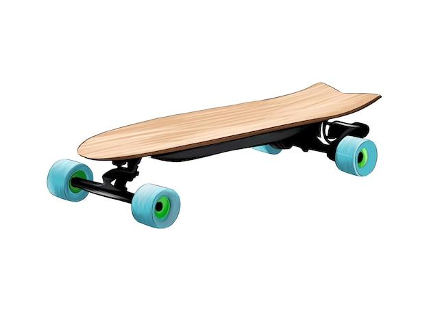 Skateboard elektrisch skate longboard van veelkleurige verf splash van aquarel gekleurde tekening