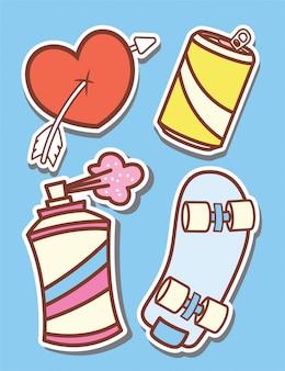 Skateboard en dagelijkse objecten cartoon stickers