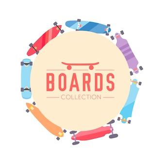 Skateboard en skateboard verzamelen achtergrond met skateboards