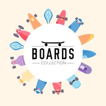 Skateboard en skateboarden collectie achtergrond met skateboards gelegen op een cirkel
