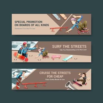 Skateboard ontwerp concept banner aquarel vectorillustratie.