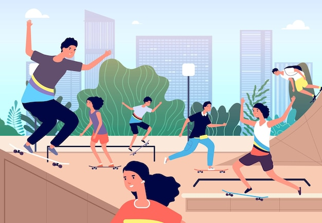 Skateboard park. leuk extreem skatepark. meisjesjongens doen trucs met planken, tieners buitenactiviteiten