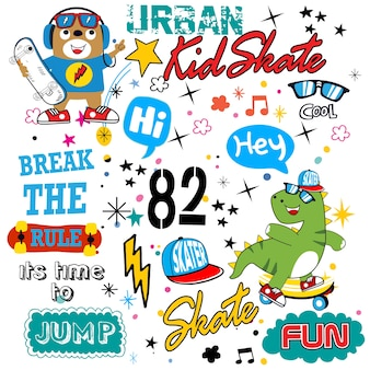 Skateboard patroon cartoon vector voor t-shirt en ander gebruik