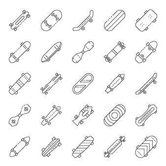 Skateboard pictogrammen instellen. overzicht set skateboard vector iconen
