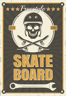 Skateboard vintage poster van schedelapparatuur in witte ronde, vectorillustratie