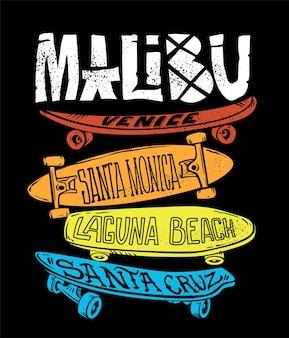 Skateboardafbeelding voor t-shirtprint en ander gebruik.