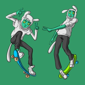 Skateboarden broers hand getrokken stijl