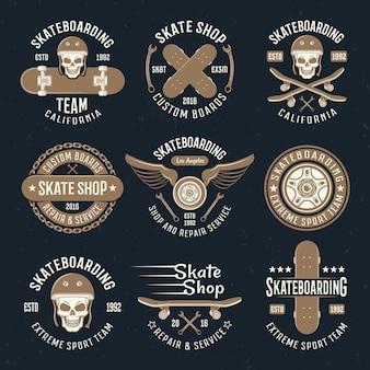 Skateboarden emblemen in kleur