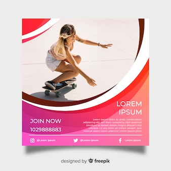 Skateboarden poster sjabloon met foto