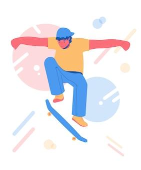 Skateboarden tiener. jonge man rijden op een skateboard.
