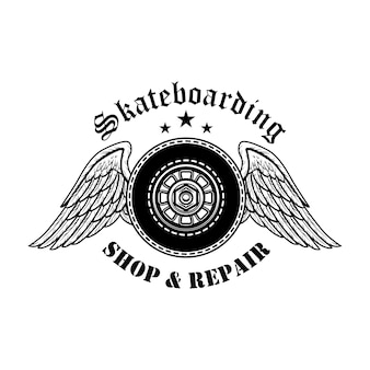 Skateboards reparatie symbool vectorillustratie. bordenwielen met engelenvleugels en tekst