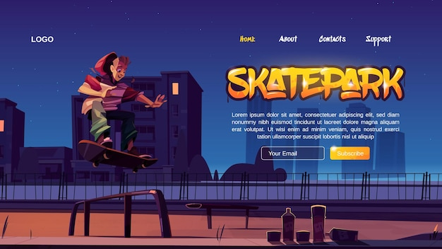 Skatepark cartoon bestemmingspagina
