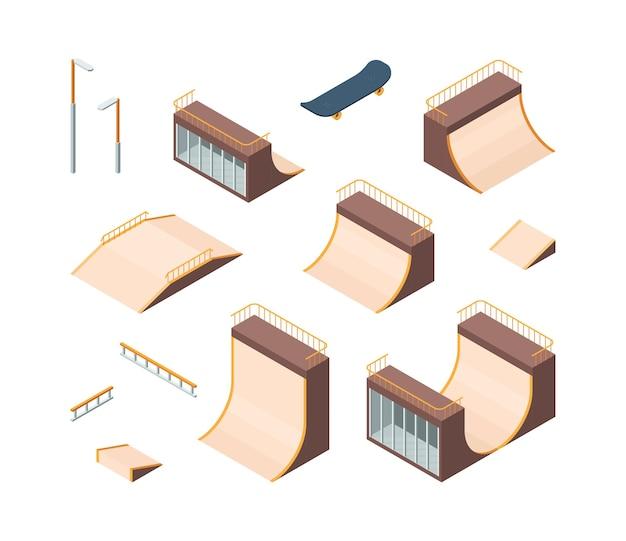 Skatepark. isometrische buitenshuis actieve karakters skateboarders trampoline balustrades tieners atleet workout club vector collectie. outdoor skateboarden isometrisch, skateboard oefening illustratie