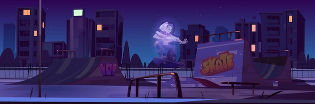 Skatepark met jongensspook die 's nachts op skateboard rijdt. cartoon stadsgezicht met hellingen en graffiti op muren.