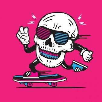 Skater disco skull skateboarding character design