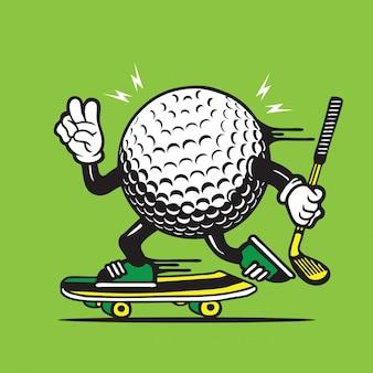 Skater golfbal skateboarden karakterontwerp