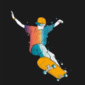 Skater in jeans sneakers en met een skateboard