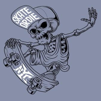 Skater schedel illustratie. hand getekend.
