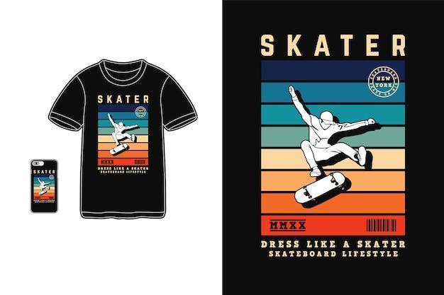 Skaterjurk als een skaterontwerp voor retro-stijl van een t-shirt