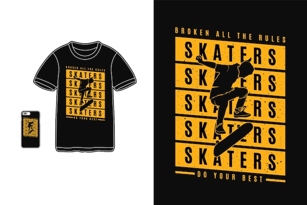 Skaters doen je best t-shirt design silhouet retro stijl