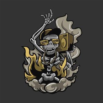 Skelet dansende illustratie