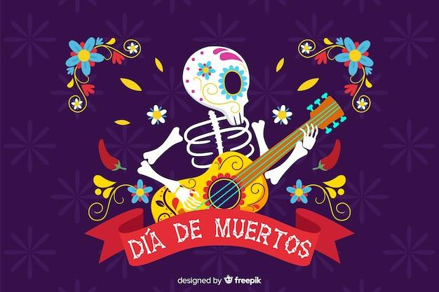Skelet dat de achtergrond van gitaar vlakke día de muertos speelt