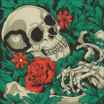 Skelet dat een rozenillustratie houdt