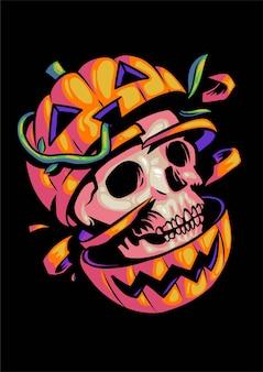 Skelet in pumpkin halloween illustration