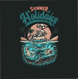 Skelet in zomer strand illustratie