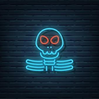 Skelet neon sign vector elementen