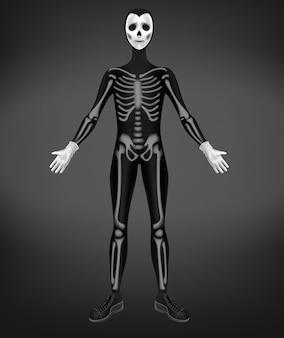 Skelet of doodskostuum voor halloween-partij op zwarte achtergrond wordt geïsoleerd die.
