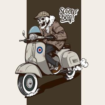 Skelet rijden op een scooter
