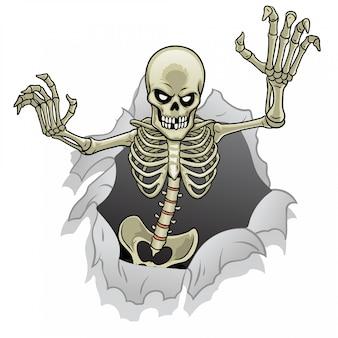Skelet stripfiguur uit het gebroken papier gat