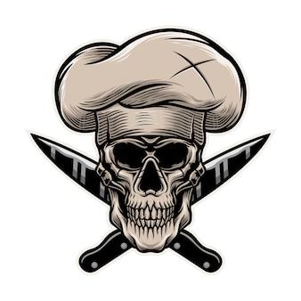 Skeletchef-kok met het malplaatje van de messenillustratie