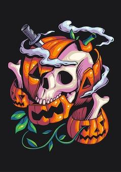 Skeleton pumpkin halloween-illustratie