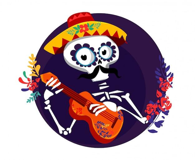 Skeleton speelt gitaar.