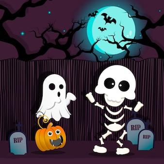 Skeletspook en pompoen die in halloween-partij dansen.