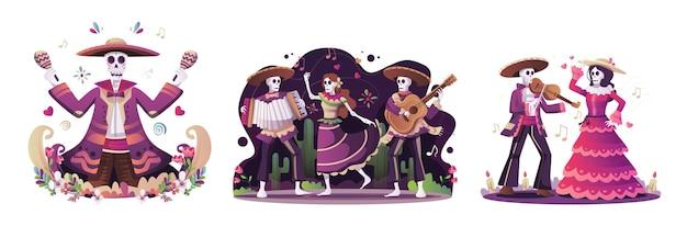Skeletten dansen voor de dag van de dode suikerschedel vector