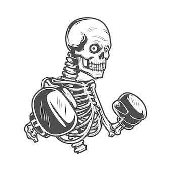 Skeletvechter met handschoenen