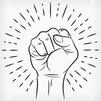 Sketch raised power fist gebalde doodle